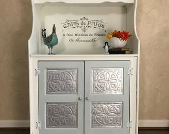 French Farmhouse Pie Safe Hutch, Wood Hutch, Old style, punched tin