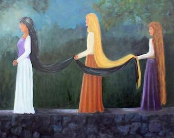 Oil on Canvas Original  Oil Painting Women Moonlight Giclee Print Fine Art Glass Magnet Lytlebitartistic Carol Lytle Wraps Free Shipping #98