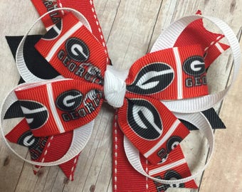 Georgia Bulldogs Bow, Dawgs Bow, Football, Red and Black bow