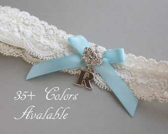 Personalized Garter, Something Blue Lace Wedding Garter, Lace Garter, Light Blue Bow, Garter with Silver Initial - Ivory White or Off White