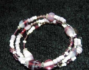Mix seed bead and India bead memory wire bracelet