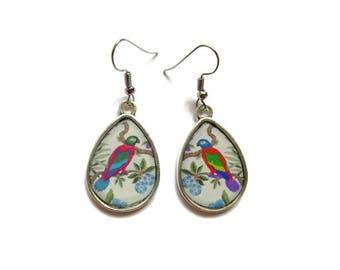 PARROT EARRINGS - TEARDROP Vintage earrings - Parrot jewelry  - Jungle earrings - Tropical jewelry - japanese style- Summer Boho Earrings