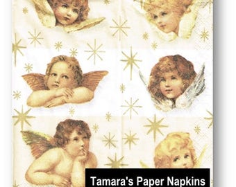 4 Decoupage Napkins, Paper Napkins, SWEET ANGELS cherubs, 21 cm 8.3 Inches. Napkins for Decoupage or Party. Printed in Europe.