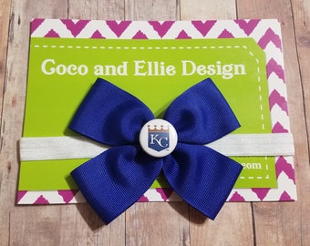 Kc royals bow headband/Kansas city royals headband/baby girl kc royals/kc royals girl/kc royals baby shower gift/royals hair bow/kc hair bow