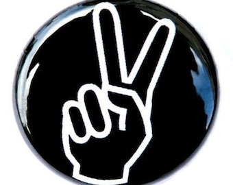 Peace Hand - Button Pinback Badge 1 inch