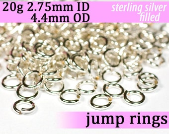 20g 2.75mm ID 4.4mm OD silver filled jump rings -- 20g2.75 jumprings