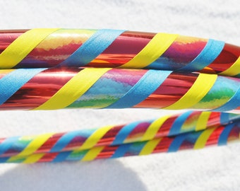 Hula Hoop - Custom In Rainbows Hoola Hoop - Collapsible for Travel - Dance or Exercise
