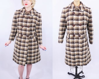 1960s houndstooth coat | mod brown houndstooth double breasted wood button coat | vintage 60s coat
