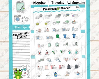 Everyday Life / Chores  --- Planner Stickers --- Cleaning Time --- 466