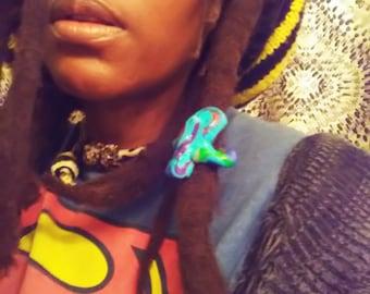Psychedelic Surreal Purple Polymer Clay Dreadlock Bead