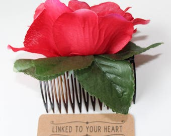 Flamenco Flower Rose Hair Comb, Ballet Headpiece, Spanish Flamenco Comb, Rosa Flamenca, Peineta Flamenca