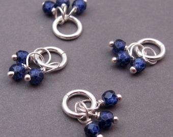 Sapphire Blue Birthstone Charm Trio, Sapphire Cubic Zirconia, September Birthstone Jewelry,Sterling Silver Sapphire Pendant, Bracelet Charm