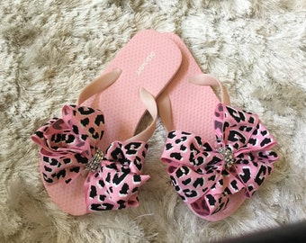Pink Flip Flops with a BIG Cheetah Bow