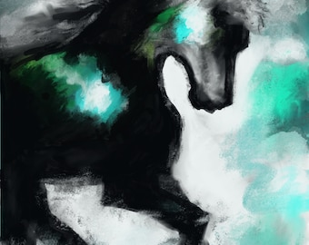 Stormy Abstract Running Horse Painting