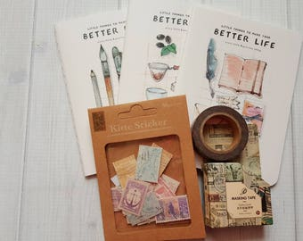 Stationary Epherma Notebook -vintage look stamps- washi tape set.