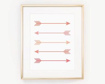 Pink Arrow Print, Printable Nursery Art, Coral Bedroom Print, Arrow Printable, Pink Nursery Print, Pink Office Decor, Dorm Ideas, Arrow Art
