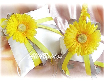 Grey and yellow daisy weddings ring bearer pillow and flower girl basket, spring wedding ring cushion and basket set.