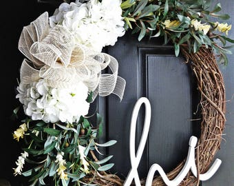 Extra Large Welcome Wreath, Summer Wreath, Olive Branch Wreath, 24 Inch  Wreath,