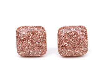 Pink Sparkle Square Stud Earrings, Hypoallergenic Wood Earrings by Starlight Woods