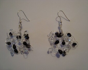 Earrings black and transparent