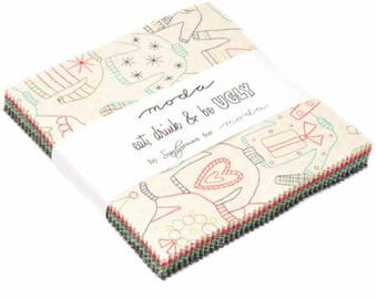 SPRING SALE - Eat Drink and Be Ugly - Charm Pack - Sandy Gervais - Moda Fabric