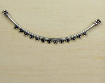 Necklace Finding, Curved Silver Connector Bar, 15 Beading Holes Link, 13 Beading holes Cresent Bar ,  75mm - Jewelry Supply