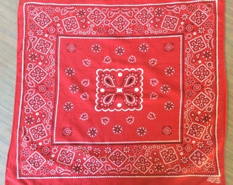Vintage Red 1950s Fast Color Bandana
