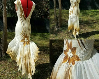 Woodland Fairy Dress. Alternative Wedding Gown. Tattered Pixie Dress in Cream and Tan Silk. Adult Fall Fairy Dress. MADE TO ORDER