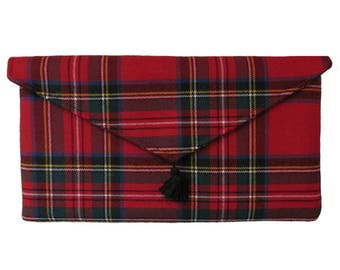 Royal Stewart Pure Wool Red Tartan Clutch Bag