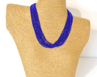 SALE Boho necklace,Blue Sapphire necklace, multistrand necklace, bridesmaids gifts,beaded necklace,seed bead necklace, royal blue necklace