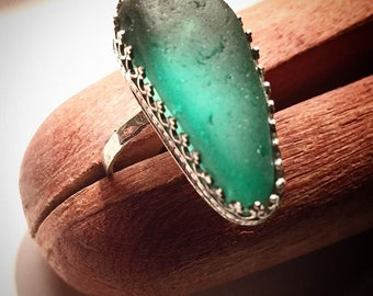 Sterling silver and seaglass ring