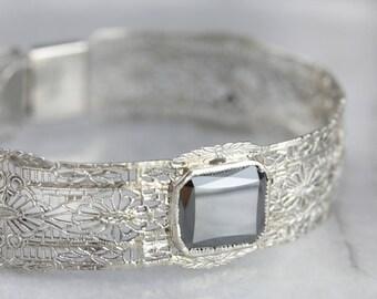 Art Deco Hematite Filigree Bracelet,  White Gold Filigree Bangle, Estate Jewelry NVFQ2Z-N