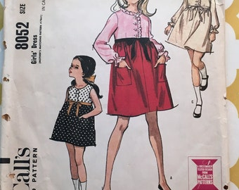 1965 McCalls Sewing Pattern 8052 Girls Empire Bodice Dress Size 6 cut-girls dress pattern, size 6 girls dress pattern, 1960s dress