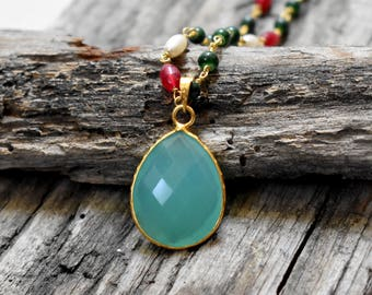 Blue Chalcedony C Faceted Pendant - Gold Plated Rosary Chain Necklace - Chain included - Women Charm Necklace