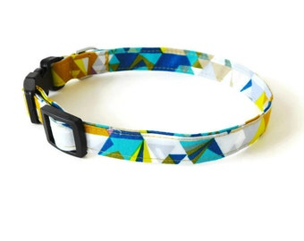Blue and Gold Multicolor Geometric Triangle Dog Collar, Cat Collar