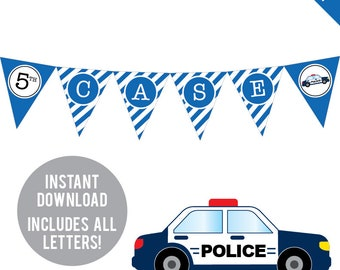 INSTANT DOWNLOAD Police Party - DIY printable pennant banner - Includes all letters, plus ages 1-18