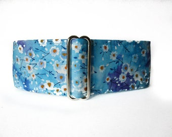1.5 Inch Martingale Collar, Cherry Blossom Martingale Collar, Turquoise Dog Collar, Cherry Blossom Dog Collar, Whippet Collar