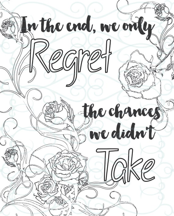 Coloring Book Chance Quotes : Adult Inspirational Coloring Page printable 13 Take a Chance