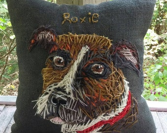 Your Dog LARGE  Free hand Embroidered on Pillow in Wool Yarn