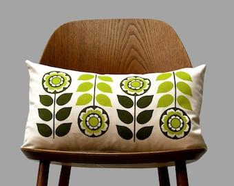 Scandinavian Retro flower 1970 olive green folk Cushion Cover off white by Gunna Ydri
