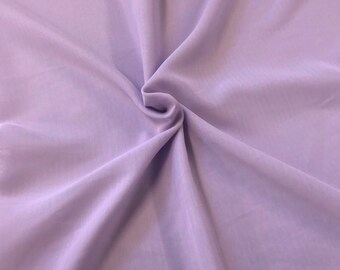 Lilac Chiffon Fabric Polyester All Solid Colors Sheer 58'' Wide By the Yard for Garments, Decoration, Crafts