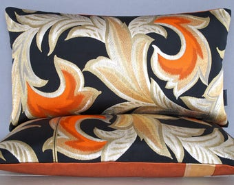 Luxury Chinoiserie Pillow Cushion Oriental Flame in Metallic Gold, Red, Silver Woven on Black Satin Silk made from  a rare Japanese Obi belt