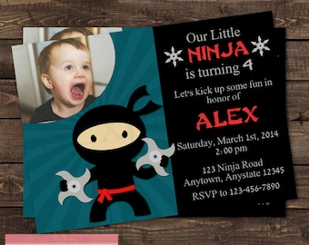Blue Boy Ninja Photo Birthday Party Invitation