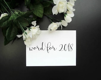 """Custom Word of the Year Print - My Word for 2018 - Customized Personal Word 5x7"""" or 8x10"""" Print - Intention Minimalist Modern Wall Decor"""