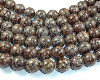Brown Snowflake Obsidian Beads, 12mm Round Beads, 15.5 Inch, Full strand, Approx 32 beads, Hole 1 mm, A quality (193054005)