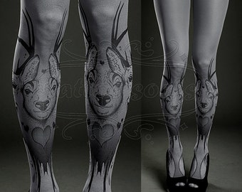 Tattoo Tights - asphalt one size Triple Deer full length printed tights closed toe pantyhose