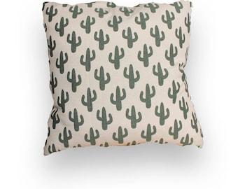 Cactus Cushion Green White zipper 50 x 50 cm