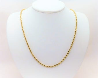 18.5 inch/3.2mm 14k Gold Rope Chain