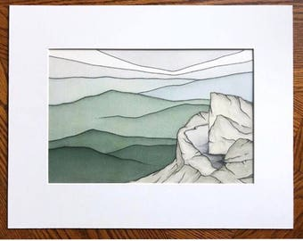 Shenandoah print, Bearfence Mountain, Watercolor print, Abstract watercolor, Abstract landscape, Shenandoah National Park, Virginia