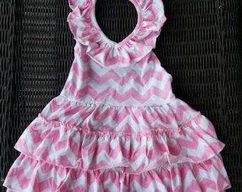 SALE, SALE, SALE...Light Pink Chevron Halter Maxi Dress for Baby Girls